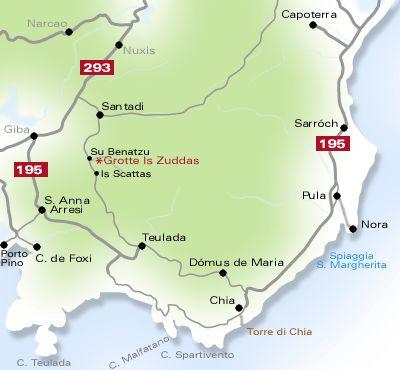 Landkarte Costa del Sud Sardinien
