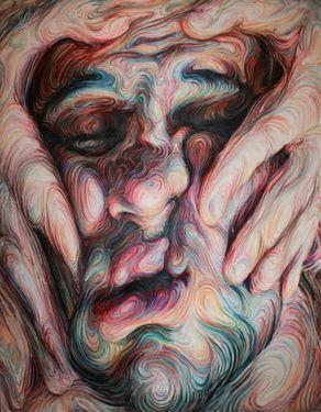 "Saatchi Art Artist: Nikos Gyftakis; oil pastel 2005 Painting ""Self portrait"" saatchiart.com"