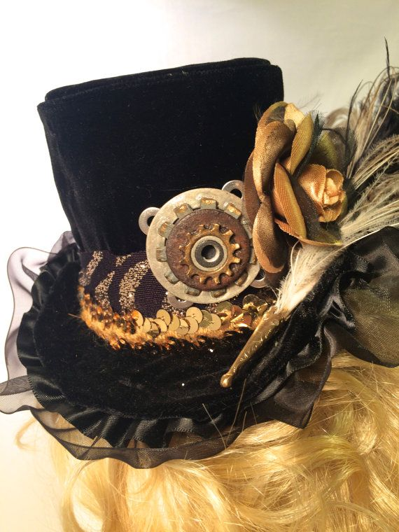 Steampunk - Steampunk Fashion Micro Top Hat by MysticalMuseBoutique