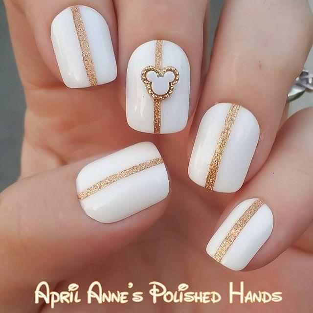 Disney nails, Mickey Mouse nail art, gold & white mani