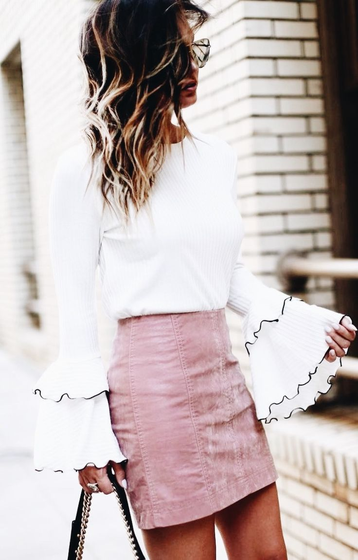Blush + bell sleeve.