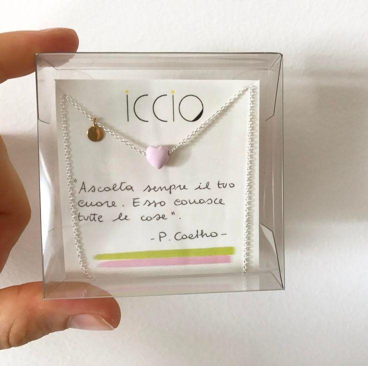 Collana I love you con cuore rosa e iniziale del tuo bambino - Icciogioielli Milano