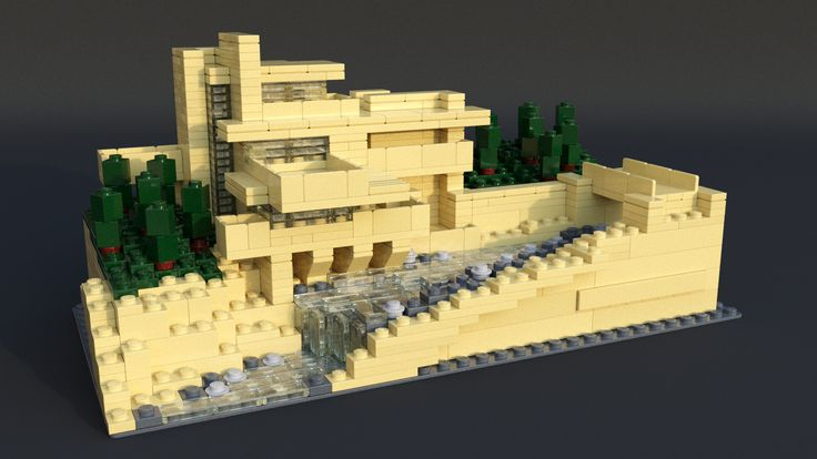 https://flic.kr/p/TuSTk9 | 21005 Fallingwater (Blender) | Although I'd rendered this model in POV-Ray, I wanted to see how it compared with Mecabricks/Blender.
