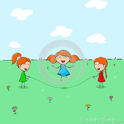 Three children playing skipping on the field and meadows with delight