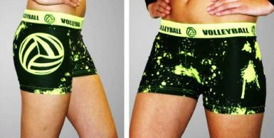 Volleyball Spandex Shorts - Neon Yellow Splatter