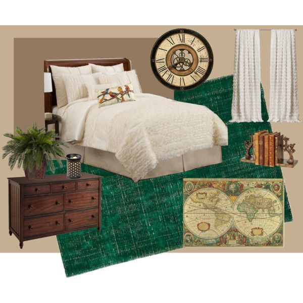 """Make the best out of dark green carpet and turn your bedroom into an """"old world"""" theme."""