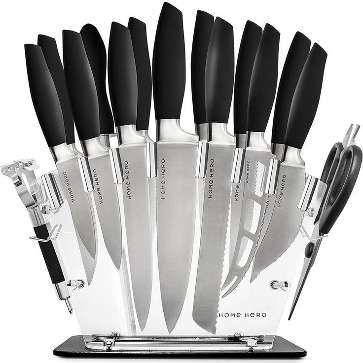 Stainless Steel Knife Set With Block 13 Kitchen Knives Chef