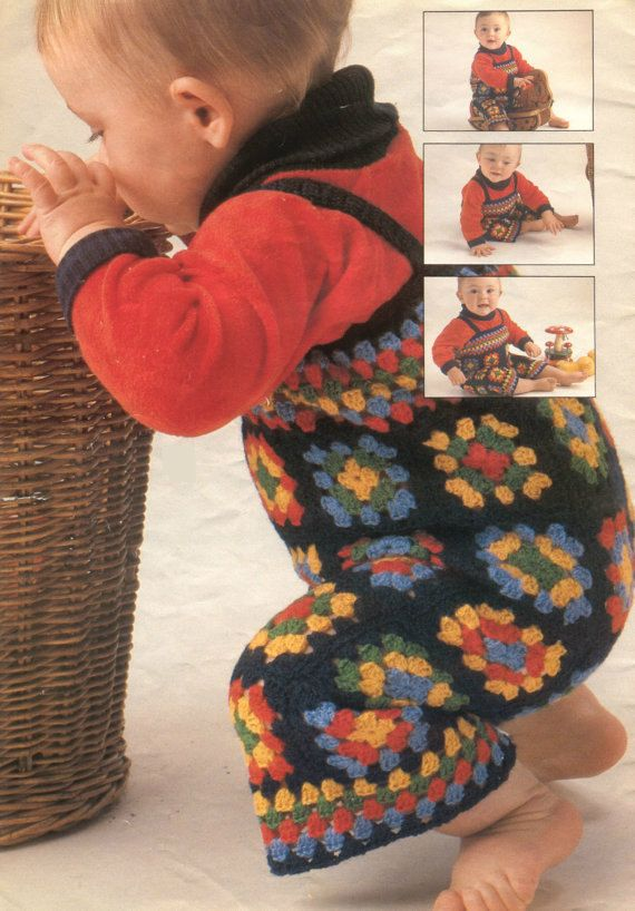Crochet baby granny square overalls vintage by OhhhBabyBaby