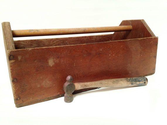 Vintage Large Wood Carpenters Tool Box