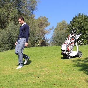 This golf club carrier follows you around the course! No need for a caddy!