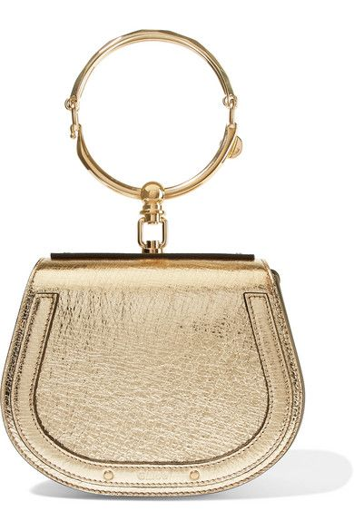 36e7f731fd Chloé - Nile Bracelet small metallic textured-leather and suede ...