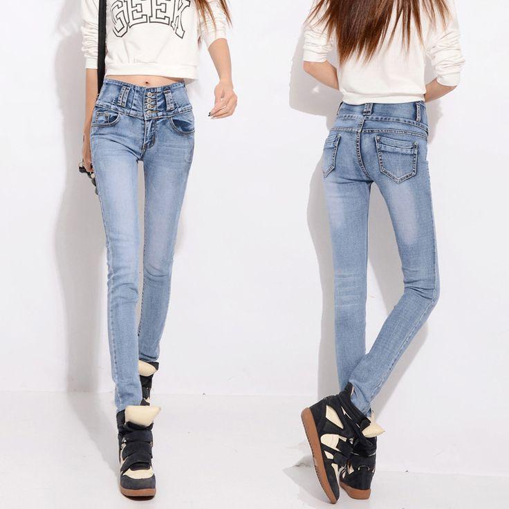Женские брюки высокой талией джинсы 2016 новый хлопок тонкий плотно дизайнер синие джинсы джинсы брюки для женщин узкие
