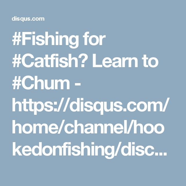 #Fishing for #Catfish? Learn to #Chum -  https://disqus.com/home/channel/hookedonfishing/discussion/channel-hookedonfishing/fishing_for_catfish_learn_to_chum_effectively/