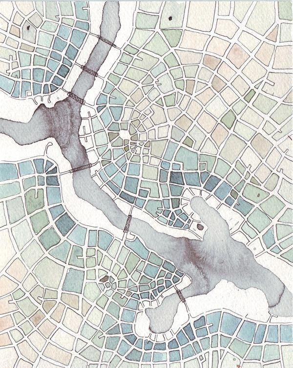 Emily Garfield | Patchwork Fields (Cityspace #145) | Ink wash, pen, watercolor