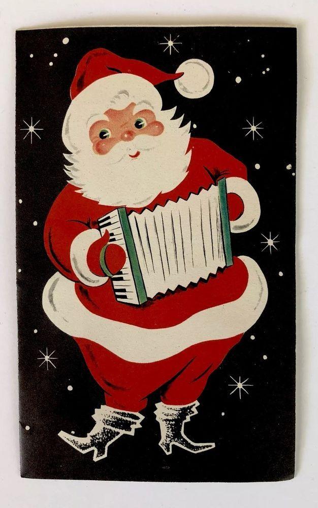 Vintage Black Christmas Card Santa Claus Music Accordion ...