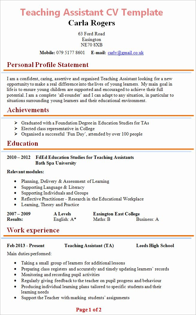 Teaching Assistant Resume Example Lovely Teaching Assistant Cv Example In 2020 Teaching Assistant Resume Examples Professional Resume Examples