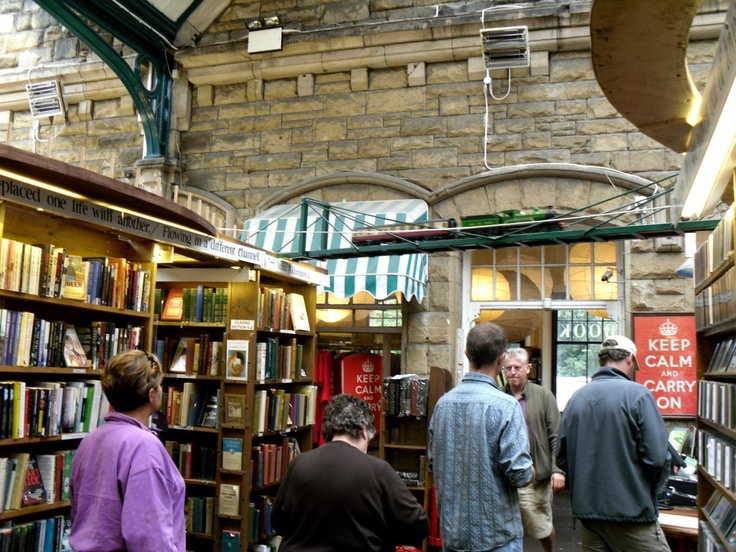 "Barter Books -  a bookstore in an old railway station with model trains, Alnwick, Northumberland, England.  Also home of the original ""Keep calm"" posters!"