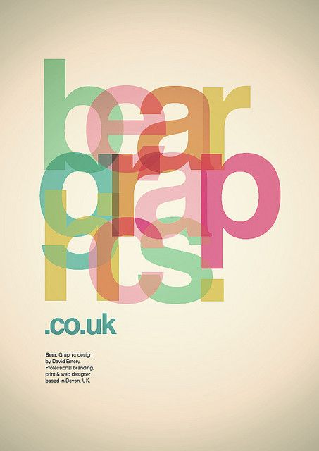Bear Graphics Type Poster by David Emery