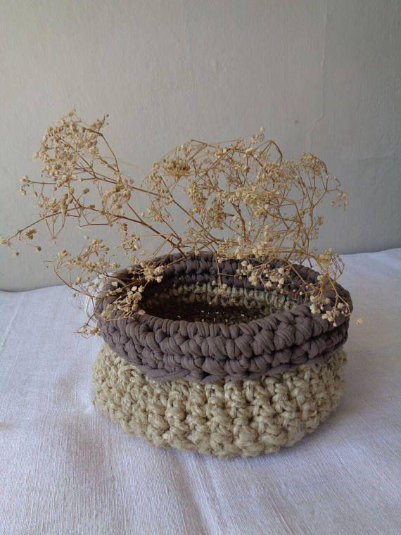 Cestino corda e cotone naturale