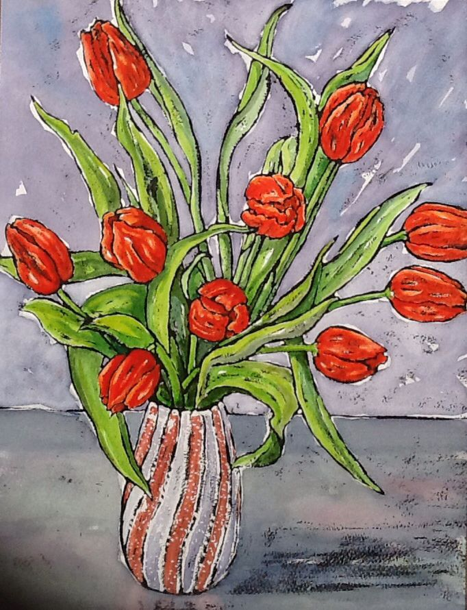 Red Tulips - watercolour and ink www.dorset-artist.co.uk
