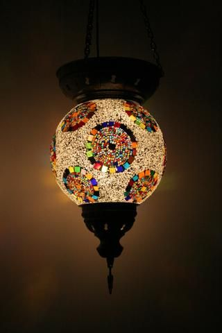 Rainbow Circles Turkish Glass Mosaic Lamp