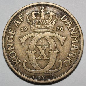 1926(h) HCN GJ Denmark 1 Krone Coin Danish KM#824.1 - B475