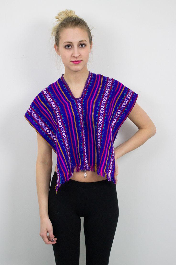 Vintage Mexican Tribal Crop Top Blouse