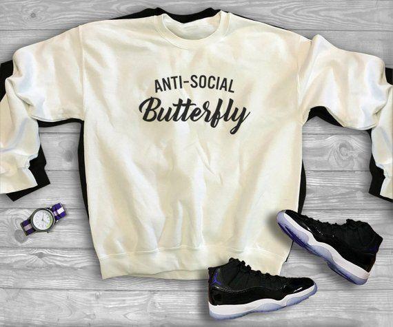 674af907b3f5 Anti-social butterfly sweater sayings tees graphic funny anti-social  sweatshirt men gifts women swea