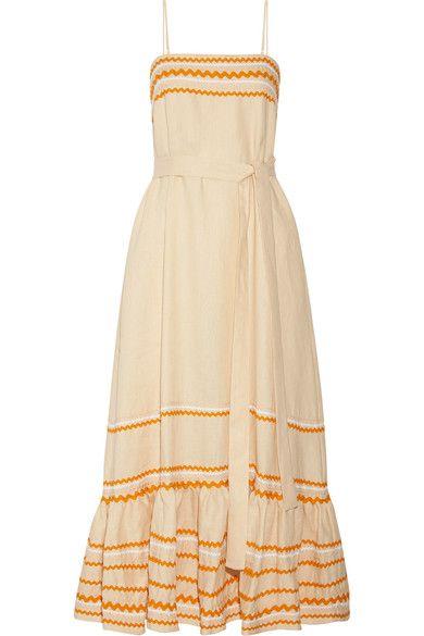 Lisa Marie Fernandez - Rick Rack-trimmed Linen Maxi Dress - Ecru - 4