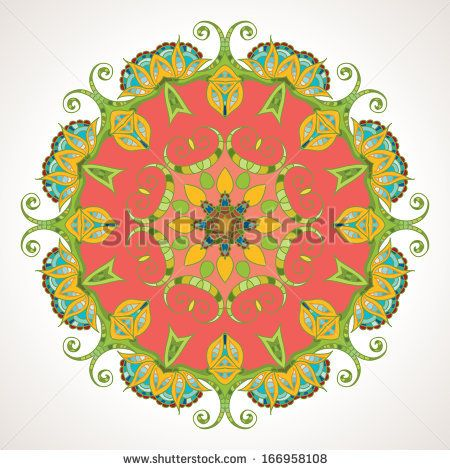 Elegant Indian ornamentation on a  beautiful background. Stylish design. Can be used as a greeting card or wedding invitation. Mandala. - stock photo