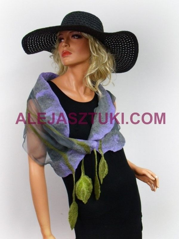 Handmade floral silk scarf scarves  Silk and merino wool Violet and green Unique #Handmade #LongScarf #everydaypartyweddingcelebration