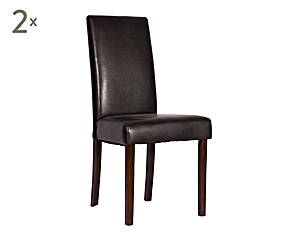 Set de 2 sillas de comedor tapizadas en polipiel – tabaco y madera