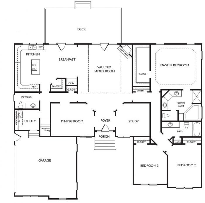 unique open floor plans cypress floorplan virginia beach lr hill custom builders - One Story House Plans