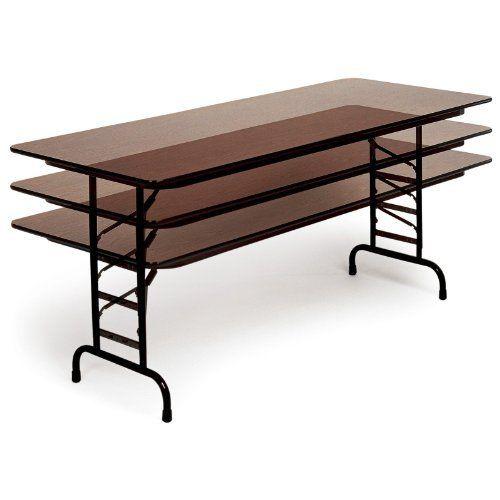 Top Adjule Folding Table Size Color Walnut