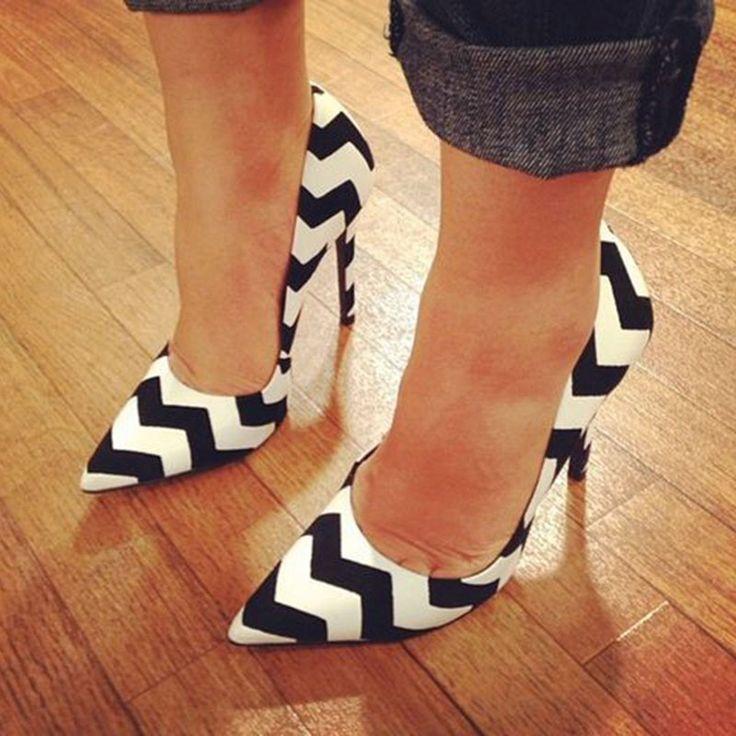 Shoespie Street Savvy Chevron Stiletto Heels