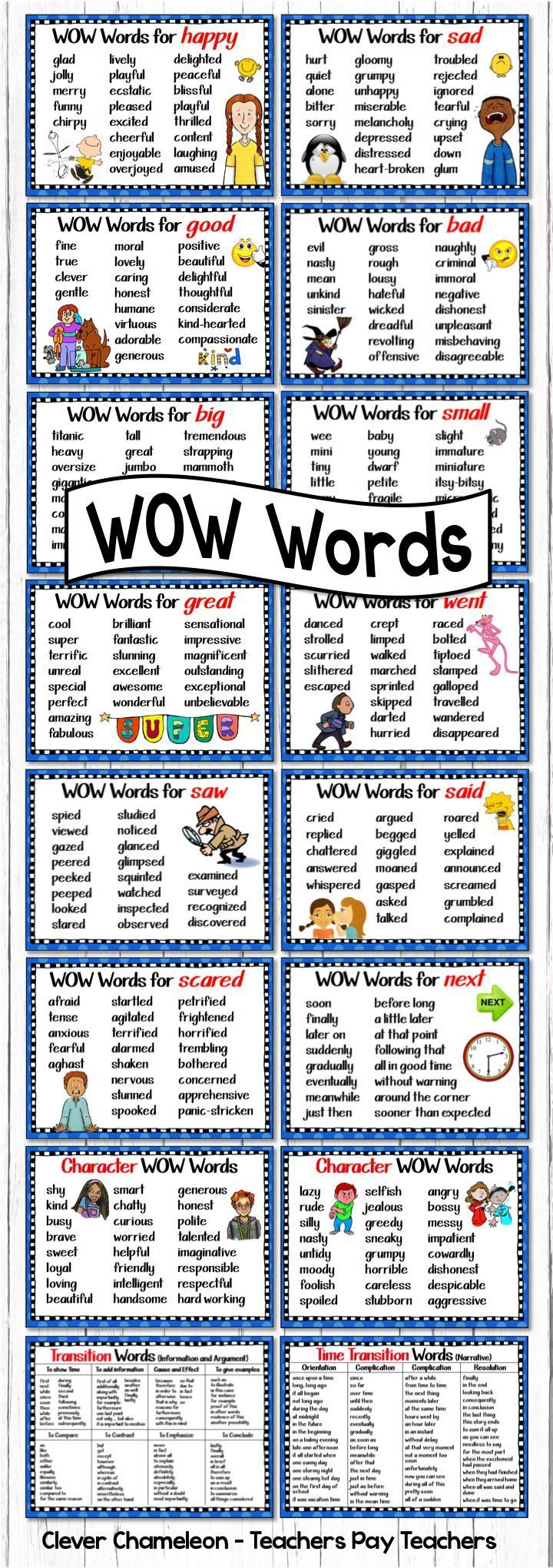 Other ways to say ... Said, Went, Scared, Big, Small, Sad, Happy, Saw, Next, Great, Good, Bad, Positive Character Words, Negative Character Words, Time Transition Words for Narratives and Transition Words for Information and Argument Texts. (16 page digit