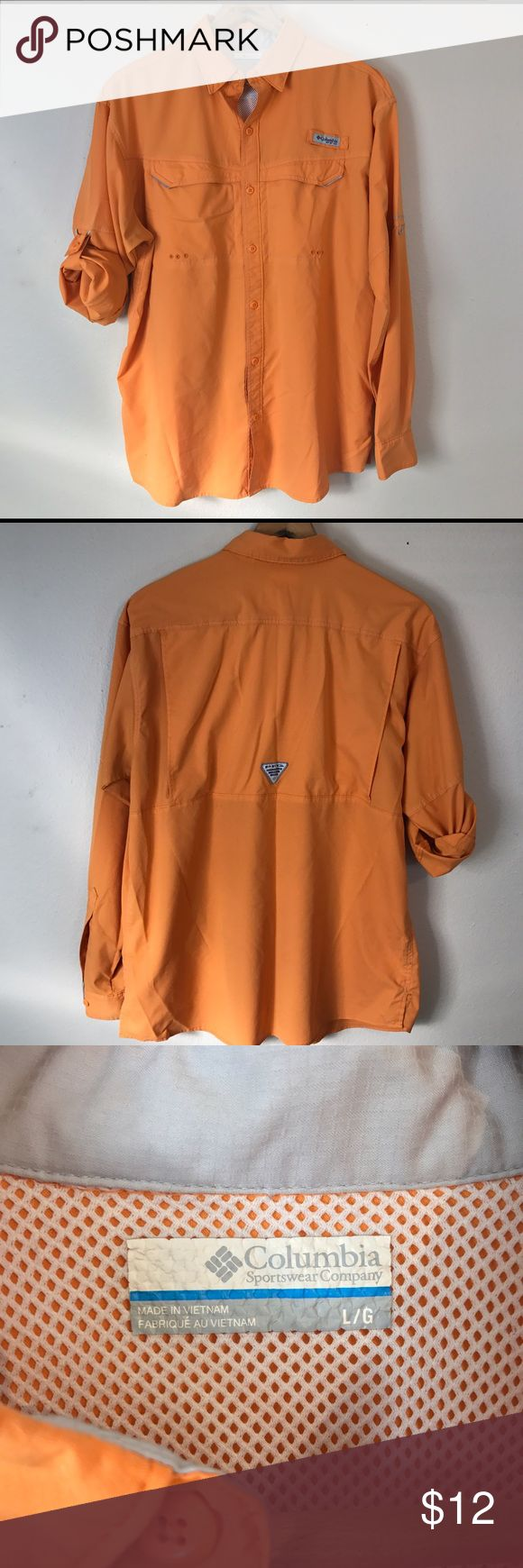 """Columbia PFG """"Low Drag Offshore"""" Long Sleeve Shirt Orange Columbia PFG """"Low Drag Offshore"""" long sleeve shirt. Size L. Supremely comfortable and light weight fishing shirt 🎣. In fair used condition. Some slight snags in fabric. Shown in last photo. Columbia Shirts Casual Button Down Shirts"""