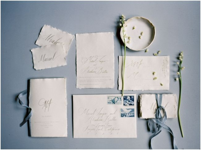 calligraphy invitation suite for forest wedding