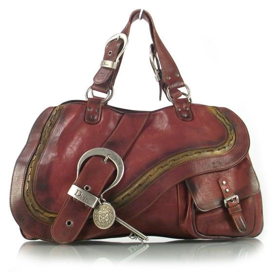 CHRISTIAN DIOR Leather Large Gaucho Double Saddle Bag