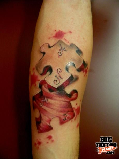 3D puzzle piece - Colour Tattoo | Big Tattoo Planet
