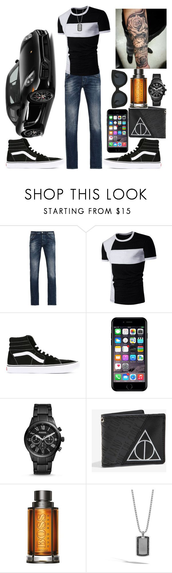 """""""Porsche"""" by ludya ❤ liked on Polyvore featuring Porsche, Armani Jeans, Vans, Off-White, FOSSIL, Warner Bros., BOSS Hugo Boss and John Hardy"""