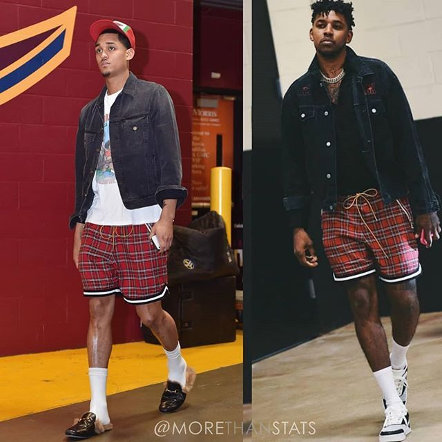 db5443f9342f Which  NBA baller rocked these plaid  Rhude shorts best this postseason    JordanClarkson OR  Nickyoung   nbaplayoffs  morethanstats