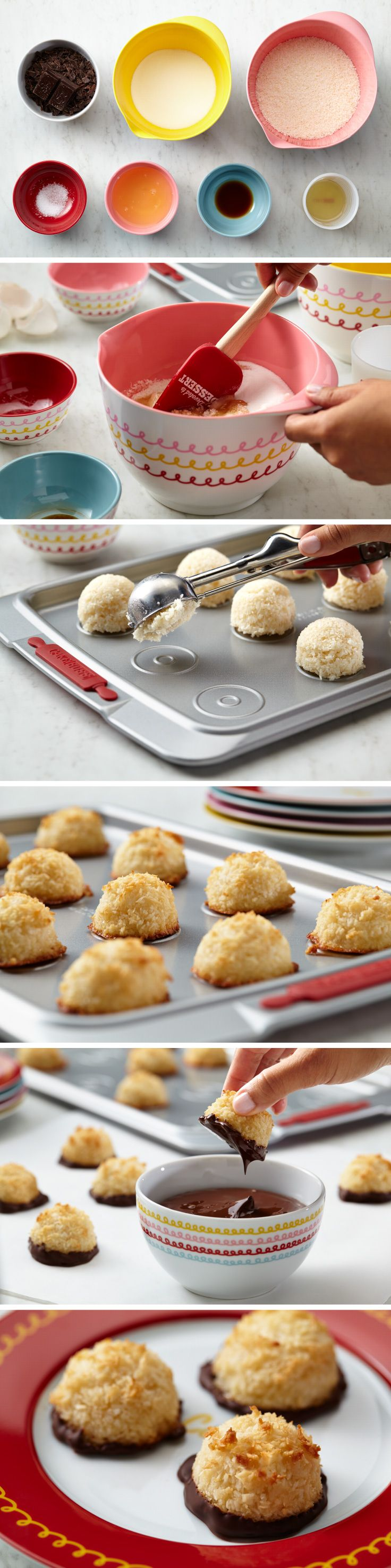 Coconut macaroons are not only stunning but tasty and gluten-free! Chewy inside and crisp on the outside, you won't be able to stop at just one. Dip bottoms in chocolate, drizzle tops with chocolate, stir in dried fruits or nuts. Create your own combination.