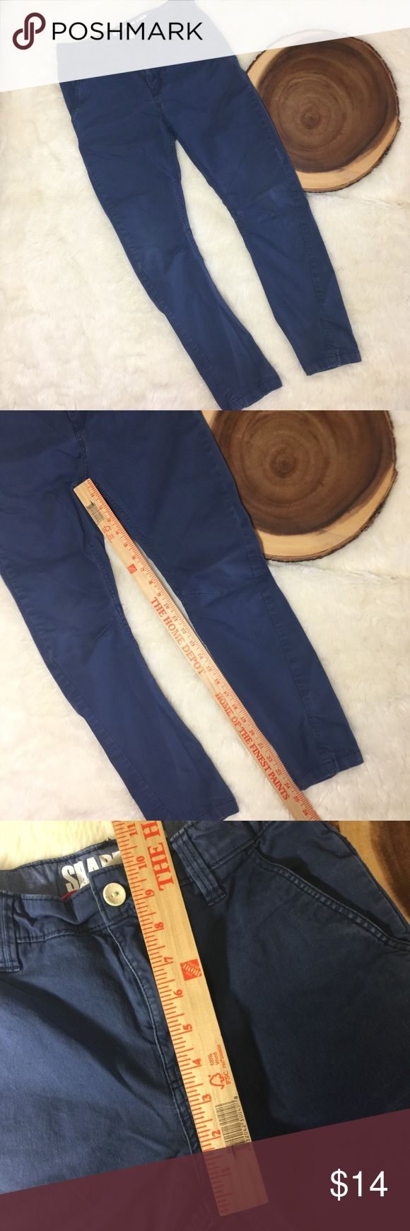 """H&M navy Prep Shaped Leg Skinny Chinos Adjustable waist 24.5"""" crotch to bottom(inseam) 10"""" rise All items photographed immediately prior to packing for shipping   Expect to receive a well-packed item! It may not be pretty packing but I like to use upcycled material & make sure it gets to you without being affected by the elements for you to enjoy asap! Bottoms Casual"""