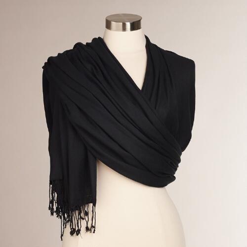 One of my favorite discoveries at WorldMarket.com: Black Pashmina Shawl $9.99