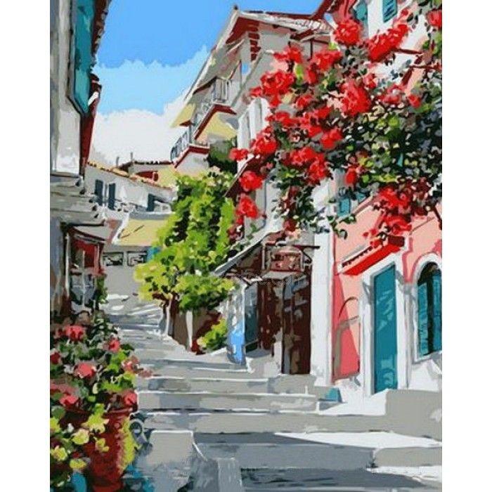 Картина раскраска по номерам на холсте - 40*50см Mariposa Q1130 Цветочная улица худ Попова Наталья