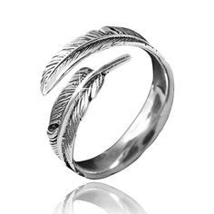 MATERIA Schmuck 925 Silber Ring Federn antik - Silber Damen Ring Feder in Gr. 52 - 60 / Größe verstellbar #SR-23 MATERIA by Matthias Wagner http://www.amazon.de/dp/B00I0EFZEY/ref=cm_sw_r_pi_dp_.YMgwb1XASEWB