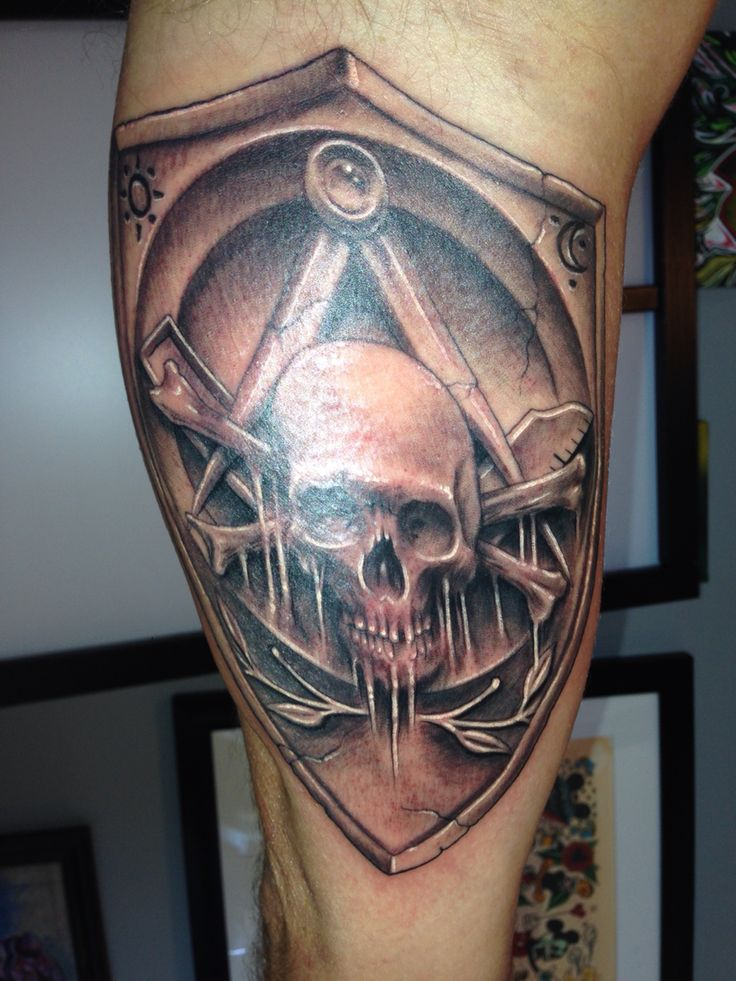 Masonic Skull & Crossbones Widows Sons & Shield by Artis ...