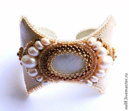 """браслет """"Лунный свет 2"""" - кремовый,браслет,Вышивка бисером,вышитый браслет"""