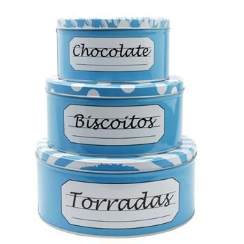 Conjunto de 3 latas azuis para guloseimas - Maria Presenteira